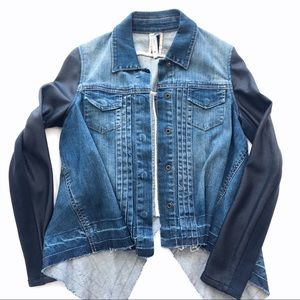 BCBGMaxazria Jean Jacket w/ Vegan Leather Sleeves